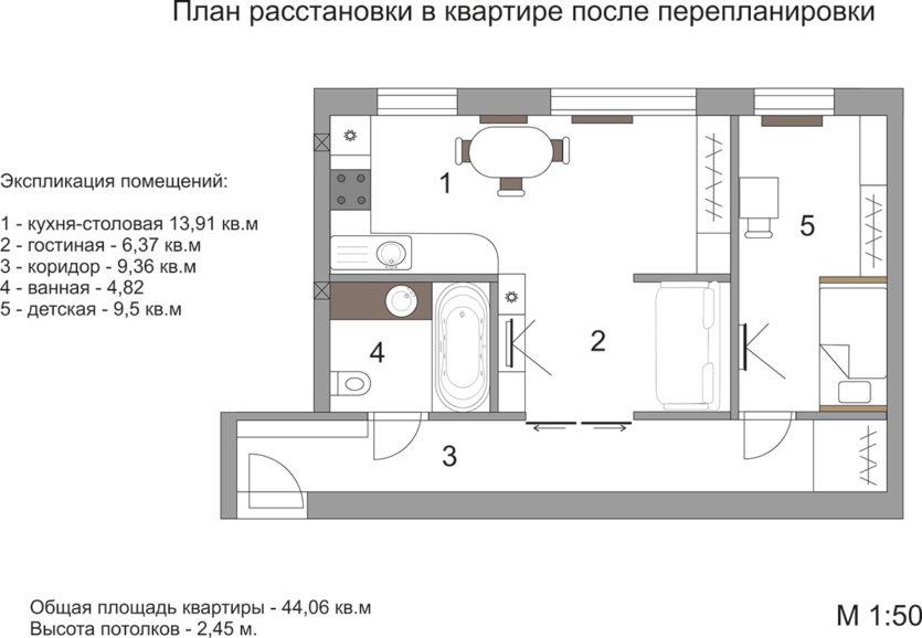 План хрущевки 2 комнаты схема и размеры фото 11